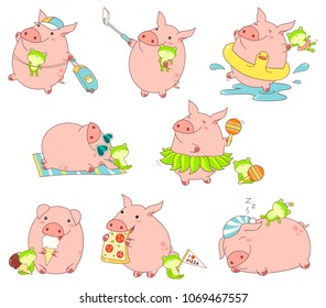 Set of cute funny pigs with favorite toy in kawaii style. Making selfie, rests on the beach, sleeps, with luggage, eats pizza and ice cream, dances in a skirt of leaves, bathes in the sea. EPS8