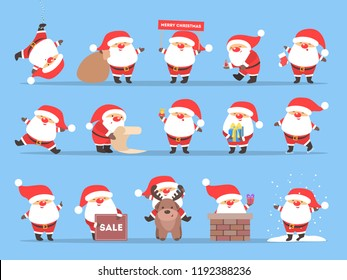 Set of cute funny Santa Claus in red clothes celebrating Christmas and New Year. Happy Santa with bag having fun. Flat vector illustration