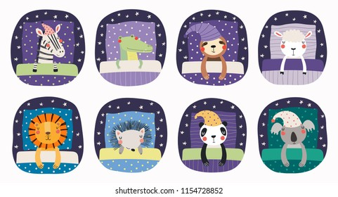 Set of cute funny sleeping animals in nightcap, with pillows, blankets. Isolated objects on white background. Hand drawn vector illustration. Scandinavian style flat design. Concept for children print