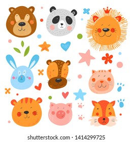 Set of cute funny smiling faces animals. Hand drawn kids illustration. Vector background. Pencil hatching texture. Colorful childish drawing. Stars, flowers and footprints.