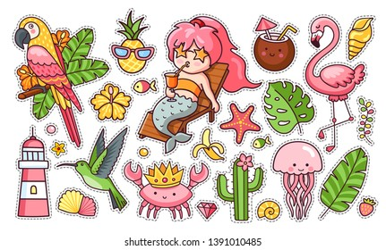 Set of cute funny summer stickers: mermaid with cocktail, flamingo, parrot, hummingbird, crab in the crown, tropical leaves. Collection of pins, patches, icons, elements, badges. Vector illustration.