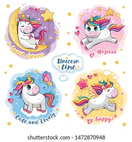 Set of cute funny unicorns. Cartoon and fabulous illustration with beautiful little pony, butterfly, star, moon and heart. Stickers with motivating text. Poster for friends, family. Wonderland. Vector