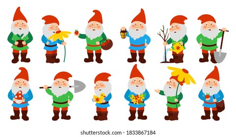 Set of cute garden gnomes. Isolated on a white background. Vector illustration.