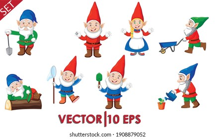 Set of cute garden gnomes. Isolated on a white background. Vector illustration eps10.