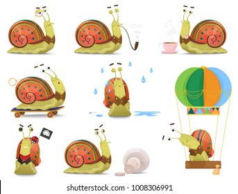Set of cute gentleman snail in waistcoat activities vector illustration.