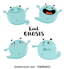 Set of cute ghost cartoon vector illustrations. Kind spooks for kid's halloween party design, holiday invitation cards and posters.