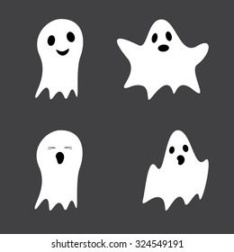 Set of cute ghosts isolated on grey background. Design elements