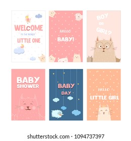 set of cute girl baby shower cards