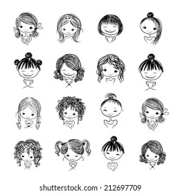 Set of cute girl characters, cartoon for your design, vector illustration