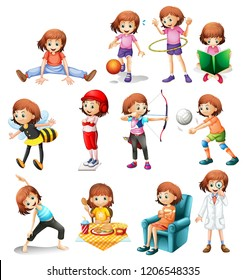 Set of cute girl with various activity illustration