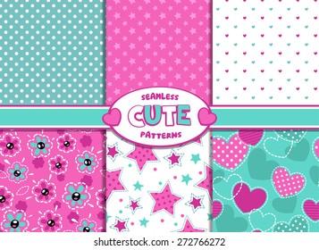 Set of cute girlish vector seamless pattern