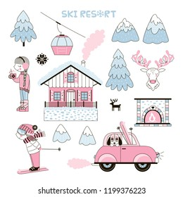 Set of cute girl-like Ski Resort themed clip-arts made in winter pastel palette. Cute girl character, Chalet, Mountains, fireplace, retro Car, Ski. Vector doodle graphics for paper goodies.