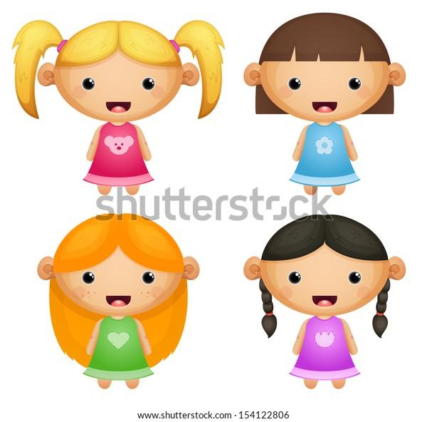 A set of cute girls