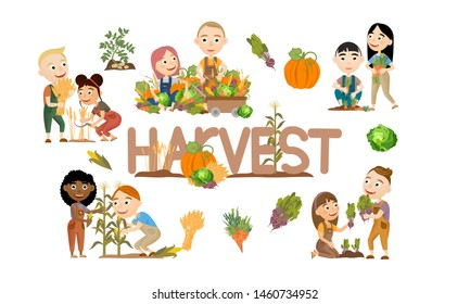 Set of cute girls and boys harvesting vegetables and cereals. Harvest cabbage, potatoes, carrots, beets, pumpkins, corn and wheat. Collection of people doing farming job. Vector illustration of kids