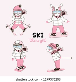 Set of cute girls characters dressed up in pink winter outfits making winter sports like snowboarding and skiing. Ski Resort themed clip arts. Vector doodle graphics for  paper goodies, card making
