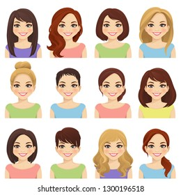 Set of cute girls with different hairstyles and color vector illustration isolated