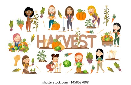 A set of cute girls harvest vegetables and cereals. Harvest cabbage, potatoes, carrots, beets, pumpkins, corn and wheat. Collection of people doing farming job. Vector illustration of kids