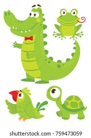 Set of cute green animals for happy birthday design. Childish Stickers