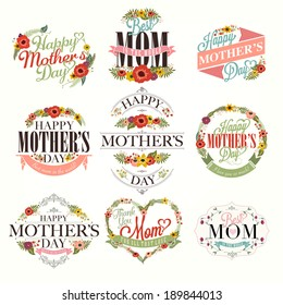 Set Of Cute Greeting Design Elements For Mother's Day With Flowers