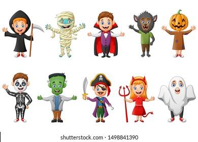 Set of cute halloween cartoon costumes children. vector illustration
