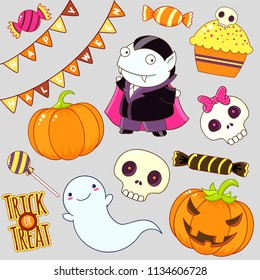 Set of cute Halloween characters and ornaments - vampire, ghost, candy, flags, pumpkin, cake with a sugar skull, sticker with inscription trick or treat. EPS8
