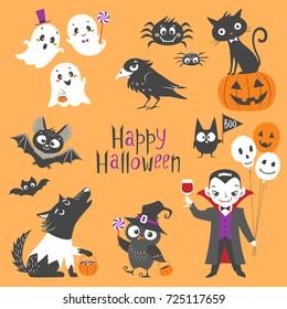 Set of cute Halloween characters.  Pumpkin, ghosts, bats, black cat, raven, spiders, vampire, skin-walker and owl isolated on orange background.