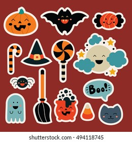 Set cute  Halloween elements in kawaii childish style: pumpkin, bat, candy, witch hat, moon, spider, ghost, broom, pot, boo, cat. Collection cartoon stickers for your design. Vector illustration.