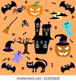 Set of cute  Halloween elements. Vector illustration