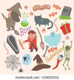 Set of cute halloween icons, illustration, spider, web, skull, skeleton, hat, witch, ghost, dracula, cute, cartoon, grave, candy, casket, eyes, grass and bones