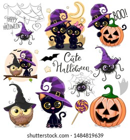 Set of Cute Halloween illustrations and design elements with owl, black cat and spider
