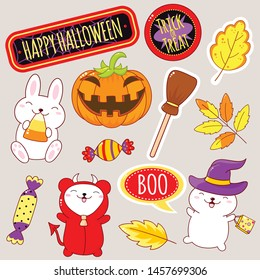 Set of cute Halloween party icons in kawaii style. Polar bear in costume of the devil, rabbit in the hat of the witch, pumpkin, broom, candy. EPS8