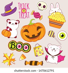 Set of cute Halloween party icons in kawaii style. Polar bear in costume of the vampire, rabbit with cake, hat of the witch, pumpkin, skull, candy. EPS8
