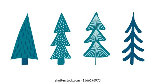 Set of cute hand drawn Christmas trees isolated on white background. Kid stylized spruce, vintage fir silhouette icons collection. New Year Vector illustration for print, web, design, decor