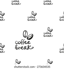 Set of cute hand drawn coffee. Vector illustration. Set of isolated home breakfast decorative elements. Chess grid order black pattern on white background - Shutterstock ID 273634535
