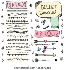 Set of Cute Hand drawn Doodle Banners isolated on white background for your Design. Label for Notebook, Diary. Bullet journal Ideas. Girl Stuff.