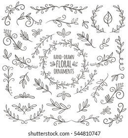 Set of cute hand drawn floral ornaments. Wreaths, borders and frames. Perfect for invitation cards and page decoration. Vector illustration.