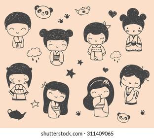 Set of cute hand drawn Japanese Kokeshi Dolls.