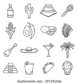 Set of cute hand drawn outline icons on Mexico theme: sombrero, poncho, tequila, coctails, taco, skull, guitar, pyramid, avocado, lemon, chilli pepper, cactus, injun hat, palm. Isolated national