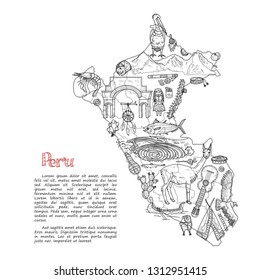 Set of cute hand drawn Peru related icons including map, fish, traditional things and other. Vector travel collection.