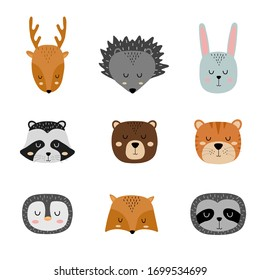 Set of cute hand drawn slleping animals. Cartoon zoo. Vector illustration. Animals for the design of children products in scandinavian style.