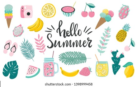 Set of cute hand drawn summer elements and lettering quotes about summer. Tropical Palm leaves and fruits