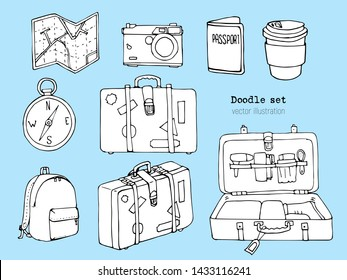 Set of cute hand drawn travel doodle. Vacation or Time to Travel concept. Tourism and trip sketch cartoon elements. Map, suitcase, camera, passport, bagpack, luggage. Vector illustration. Traveling