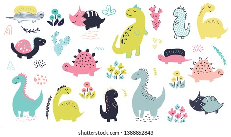 Set of cute hand drawn vector dinosaur characters, flowers and cactus. Kids illustration