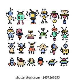 Set of cute handdrawn robots in various emotions. Vector illustration. Nice use for valentines or kid birthday card, as labels, prints etc