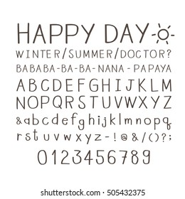 set of cute handwritten font isolated