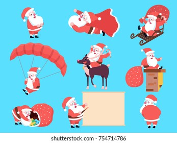 Set of cute happy cartoon Santa Claus in various positions, actions and gestures or movements. Christmas holiday characters collection. Merry Xmas theme illustration in flat design.