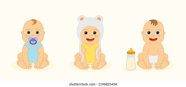 Set with cute happy little newborn baby, funny cartoon character, vector isolated illustration.