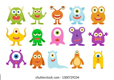 Set of cute happy monster on white background