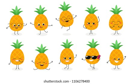 Set №2 of cute happy pineapple emojis. Vector illustration isolated on white background