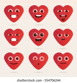 Set of cute heart emoticons. Various emotions of the character. Set of avatar icons. Vector illustration.